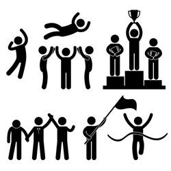Win Winner Loser Glory Celebration Champion Success Victory Icon Symbol Sign Pictogram