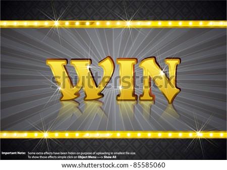 Win Write in gold shining font