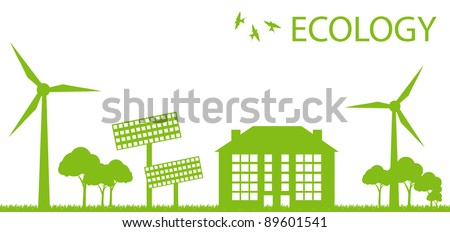 Wind alternative energy generator green vector background