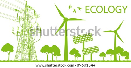 Wind alternative energy generator green vector background and high voltage line