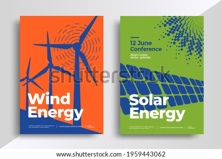 Wind and Solar energy poster design template. Flyers with renewable energy illustrations, solar panels, and wind generators. Vector