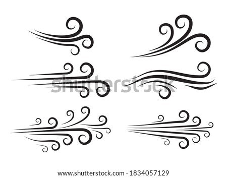 Wind blow icon set. Windy weather swirl vector shape. Silhouette of speed blowing air isolated on white. Breeze wave abstract curve symbols collection. Decorate forecast meteorology icons.  Photo stock ©