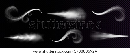 Wind blowing or dust spray, ornate white smoke, powder or water drops trail. Flow mist, smoky stream, steaming chemical or cosmetics product vapour, haze. Realistic 3d vector isolated clip art set