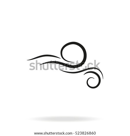 Wind blowing vector icon isolated on white background. Simple flat wind pictogram. Cold weather symbol black illustration.