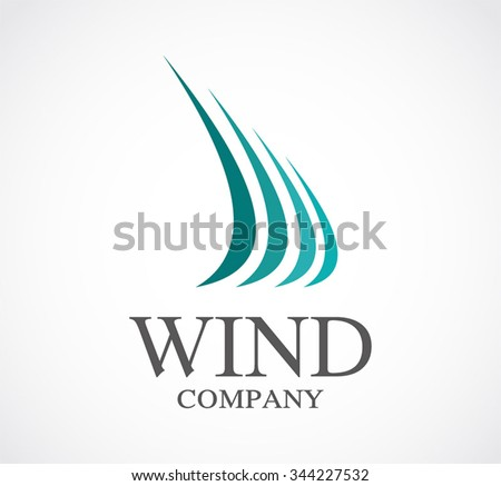 Wind curve of sail abstract vector and logo design or template wave office business icon of company identity symbol concept
