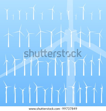 Wind electricity generators and windmills detailed editable ecology silhouettes illustration collection background vector