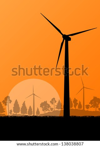 Wind electricity generators and windmills in countryside forest nature landscape ecology illustration background vector