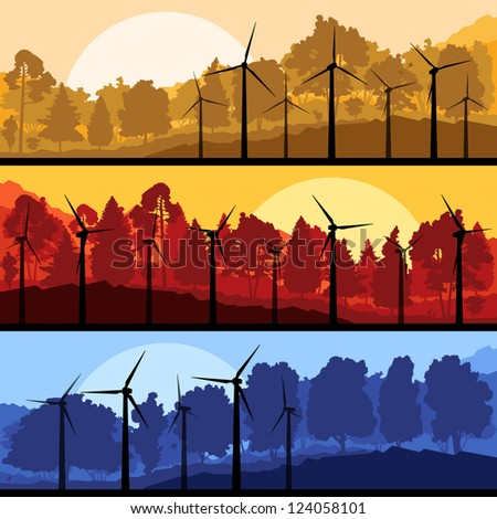 Wind electricity generators and windmills in mountain forest nature landscape ecology illustration background vector