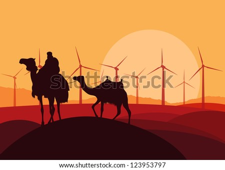 Wind electricity generators, windmills and camel caravan in desert landscape ecology illustration background vector