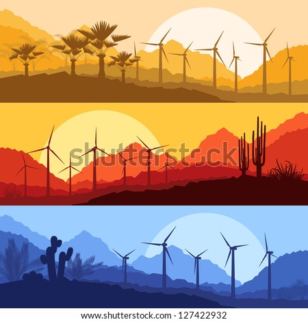 Wind electricity generators, windmills in desert palm tree and cactus plants mountain landscape ecology illustration background vector