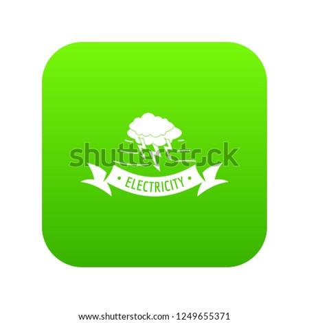 wind energy icon green vector