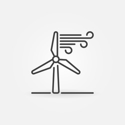 Wind energy linear icon - vector concept symbol or design element in thin line style