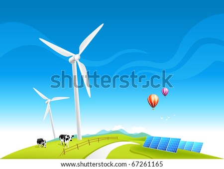 Wind Farm and Solar Panels, vector illustration.