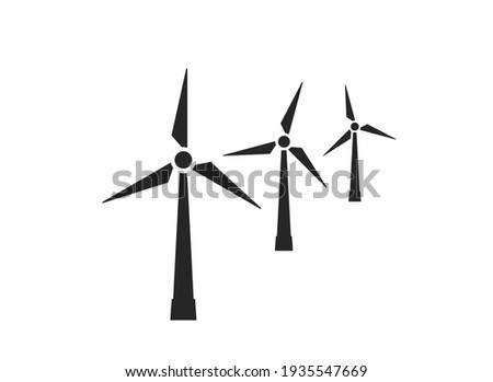 wind farm icon. wind turbines. eco friendly, renewable and alternative energy symbol. isolated vector image in flat style Stock photo ©