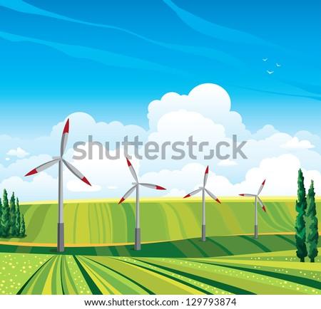wind generator and green meadow