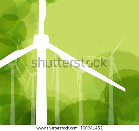 Wind generator ecology background vector