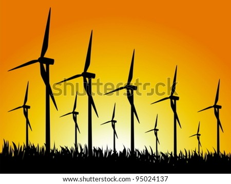 Wind generators on a grassy field. Vector illustration.