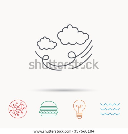 Wind icon. Cloud with storm sign. Strong wind or tempest symbol. Global connect network, ocean wave and burger icons. Lightbulb lamp symbol.