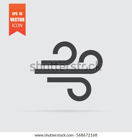 Wind icon in flat style isolated on grey background. For your design, logo. Vector illustration.