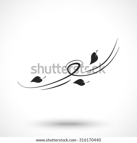 Wind icon with leaves isolated on white background. Wind symbol.