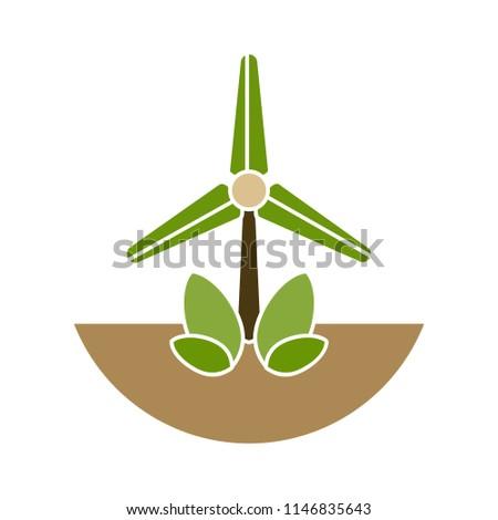wind mill illustration - wind turbine, windmill, panel solar, milling isolated, energy symbol