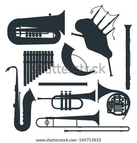 Wind musical instruments silhouette vector.