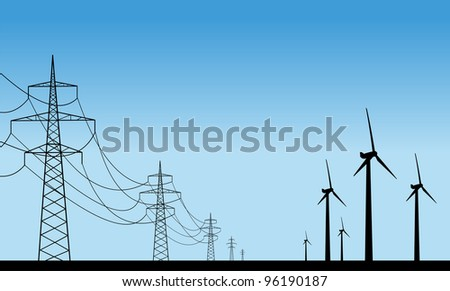 Wind plants and transmission lines. Easy editable layered vector illustration