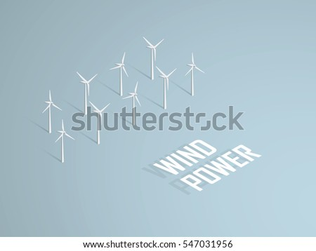 Wind power concept vector illustration with 3d vector turbines in offshore farm. Eps10 vector illustration.