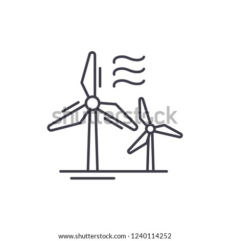 Wind power line icon concept. Wind power vector linear illustration, symbol, sign