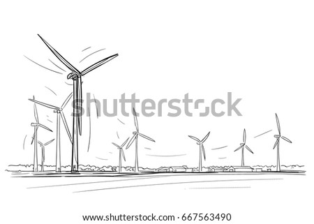 Wind power plant hand drawn illustration.