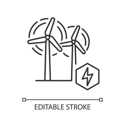 Wind power plant linear icon. Alternative energy industry thin line customizable illustration. Contour symbol. Electricity generation. Wind turbines vector isolated outline drawing. Editable stroke