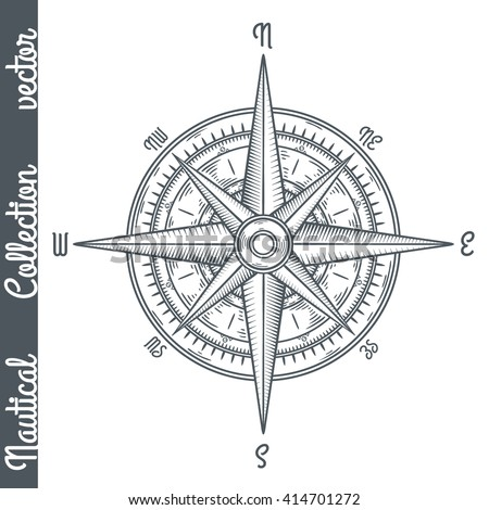 wind rose. hand drawn vector...