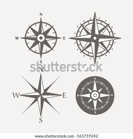 wind rose retro design vector
