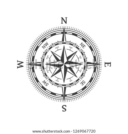 Wind rose vector illustration. Nautical compass icon isolated on white background. Vintage or retro nautical and marine navigation concepts. Design element for marine theme and heraldry. EPS 10.