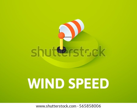Wind speed icon, vector symbol in flat isometric style isolated on color background