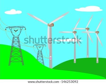 Wind turbile plants and transmission lines, vector illustration eps10