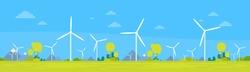 Wind Turbine Alternative Energy Resource Nature Background Banner Flat Vector Illustration