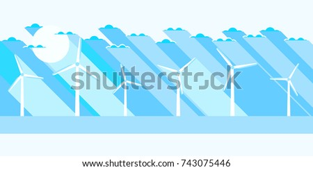 Wind turbine flat landscape. Renewable energy. Vector illustration