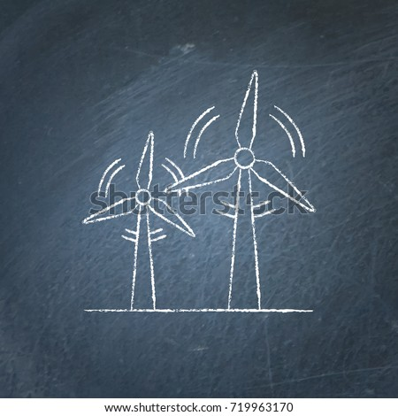 Wind turbine icon chalkboard sketch. Rotating windmill symbol chalk drawing on blackboard. Alternative renewable energy source.