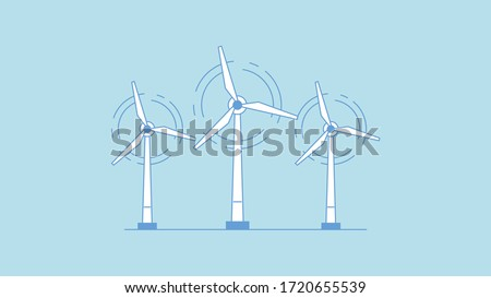 Wind turbine icon. Flat design style. Windmill silhouette. Simple icon. Modern flat icon in stylish colors. Web site page and mobile app design element. ストックフォト ©