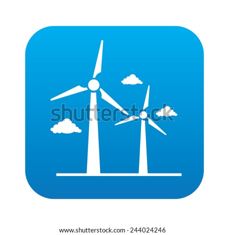 Wind turbine icon on blue button, clean vector