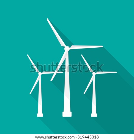 Wind turbine icon with long shadow. Flat design style. Windmill silhouette. Simple icon. Modern flat icon in stylish colors. Web site page and mobile app design element.