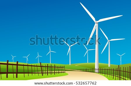 wind turbine landscape and blue sky in countryside graphic vector