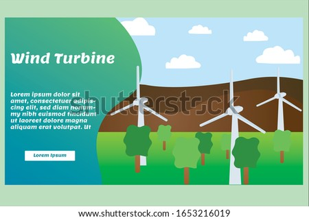 Wind Turbine Landscape and Blue Sky in Mountains Background. Clean and Green Energy.