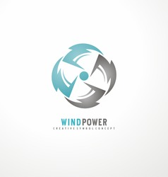 Wind turbine logo design template. Air conditioning vector symbol concept. Cooler icon. Circle thunder symbols with fan in negative space.