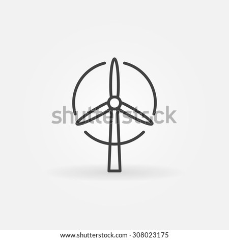 Wind turbine logo or icon - vector simple thin line eco energy symbol
