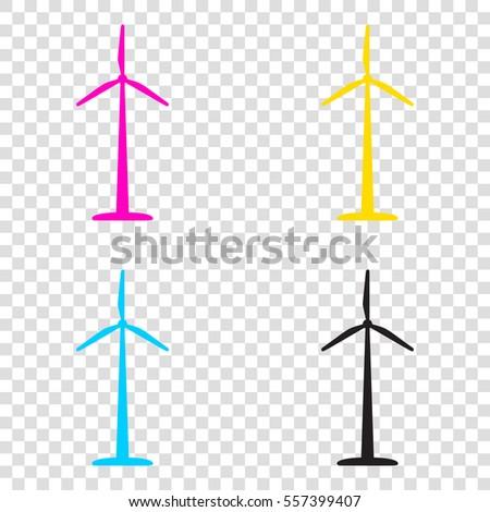 wind turbine logo or sign cmyk