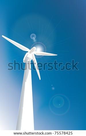 wind turbine on blue background