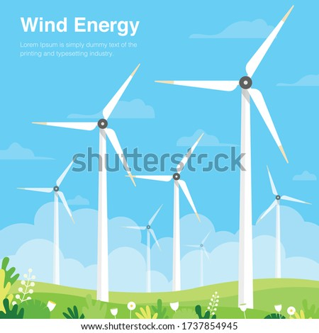wind turbine on green field wind energy concept vector illustration  Stock photo ©