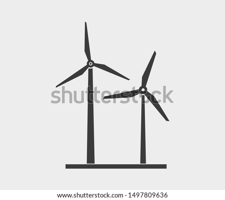 Wind turbine vector icon.Wind power icon on the white background . Windmill silhouette.Flat design style Stock photo ©